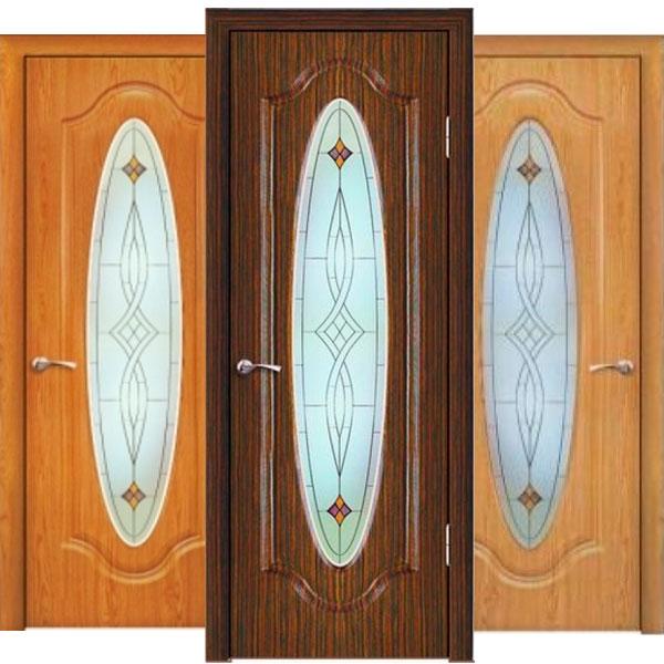 Межкомнатная дверь со овальным стеклом Греция и узорами в ...
