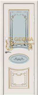 Межкомнатная дверь «Амелия» с стеклом и золотой патиной